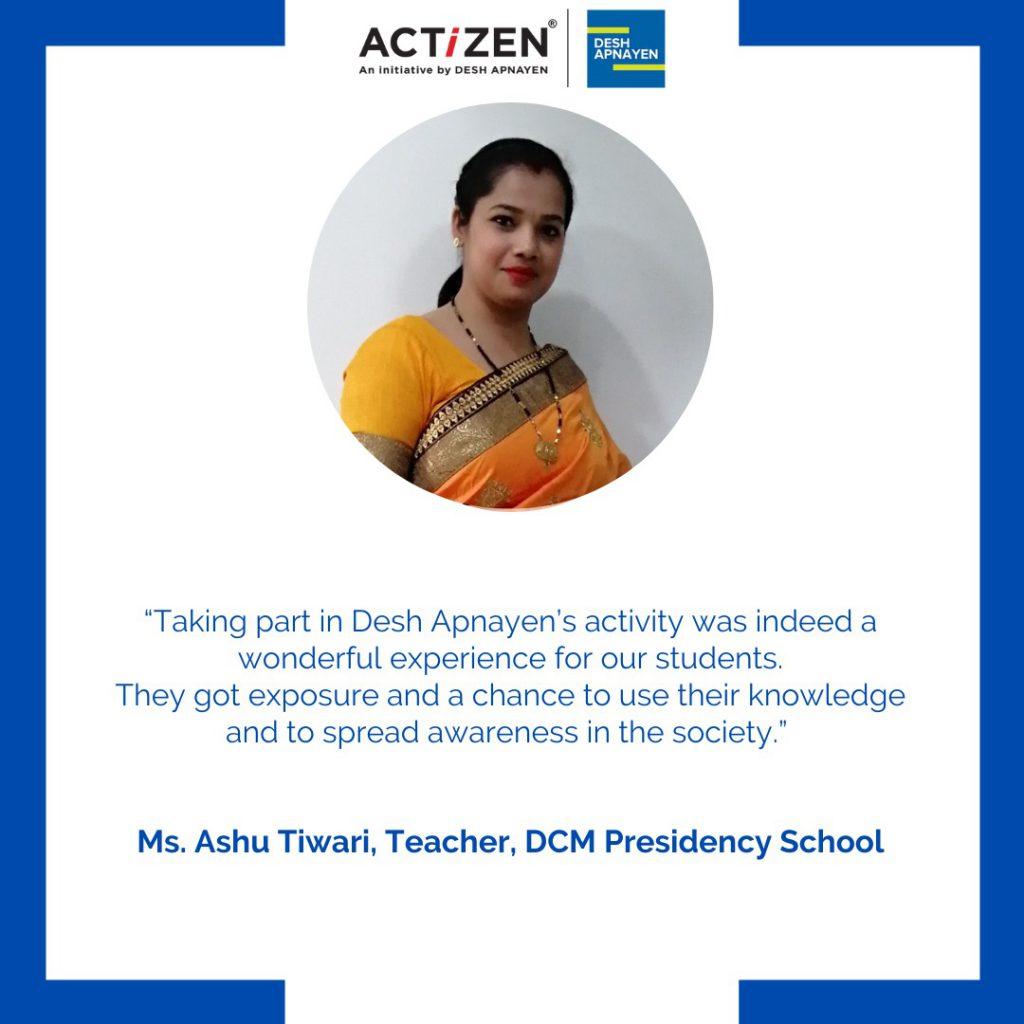 Ashu Tiwari, DCM Presidency School